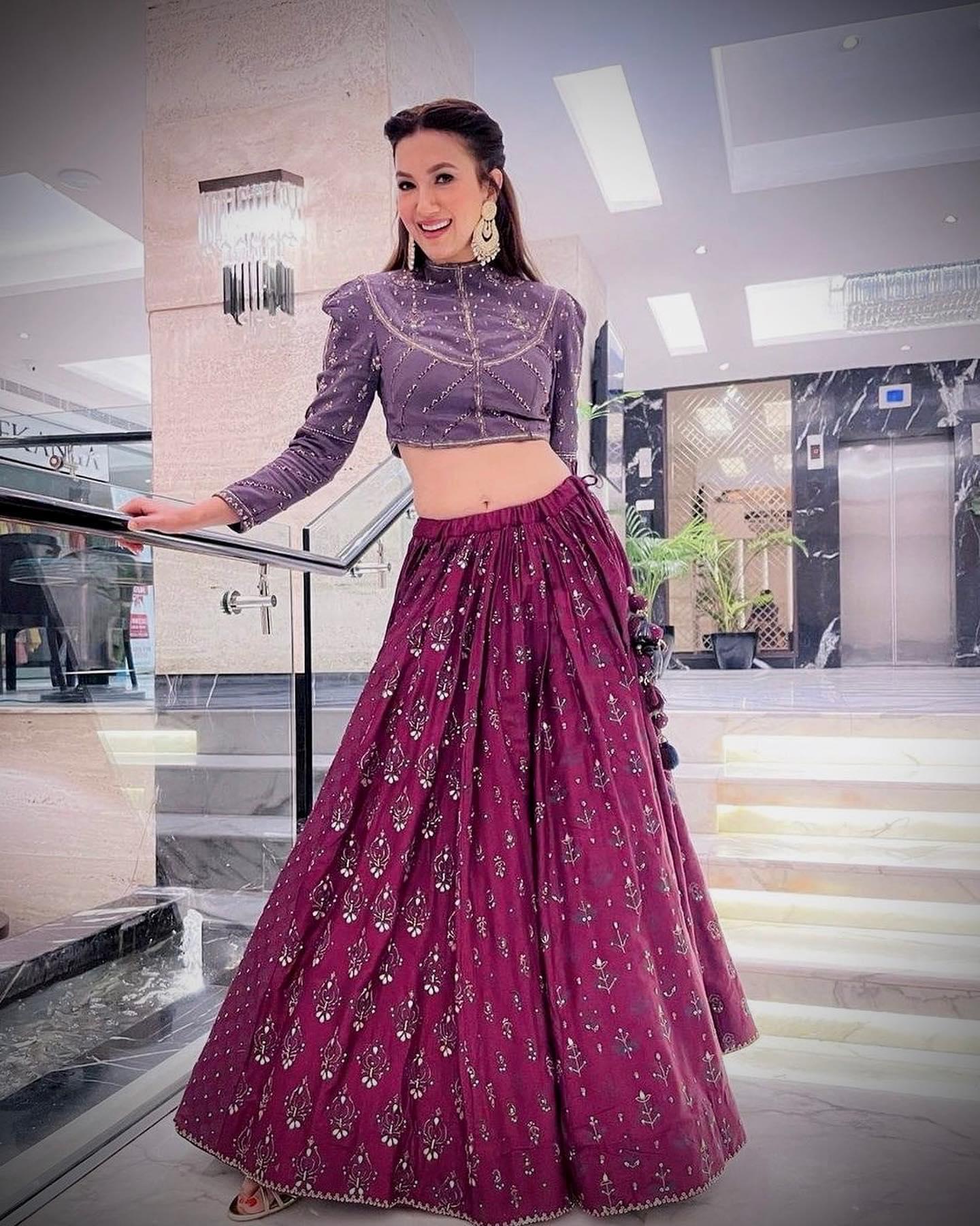 Tandav actor Gauahar Kha aces sophistication and undeniable edge in wine lehenga, blouse
