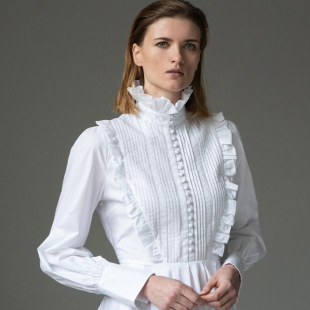 The statement shirt: Crisp, white blouse is perfect work-from-home attire